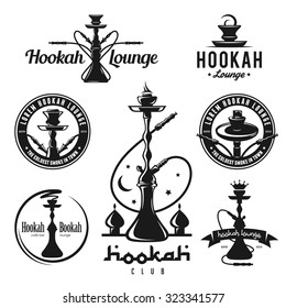 Set of hookah labels, badges and design elements. Vintage logo, emblem vector illustration.