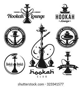 Set of hookah labels, badges and design elements. Vintage logo, emblem vector illustration.