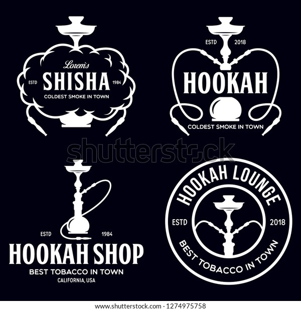 Set Hookah Labels Badges Design Elements Stock Vector