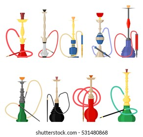 Set of hookah with pipe for smoking tobacco and shisha. Hubbly bubbly smoking accessory, east arabic water hookah or narghile.