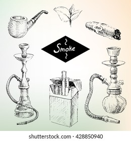 Set of hookah smoke, cigarettes, cigars, tobacco leaves.