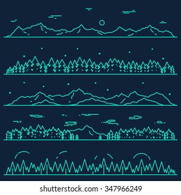 Set of horizontal abstract banners of mountains with fir forest, design elements, vector illustration, linear style.
