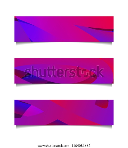 Set of horizontal abstract colorful banners. Vector illustration