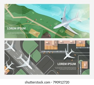 Set of horizontal banners with airplanes flying above seashore and taxiing and taking off on airport runway. Passenger aircrafts and place for text. Modern colorful vector illustration in flat style.