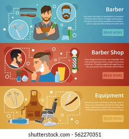 Set of horizontal banners with barber shop equipment hairdresser with working tools flat style isolated vector illustration