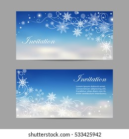 Set of horizontal banners. Beautiful winter pattern with snowflakes and swirls.