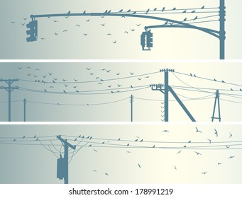 Set of horizontal banners with birds on power line in pale tone.
