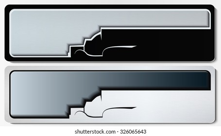 Set of horizontal banners with black & white truck silhouette. Vector illustration.