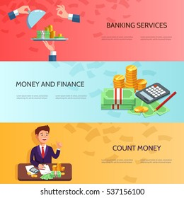 Set horizontal banners with businessman counts money profit , stack of cash, easy money. Vector illustration banking concept