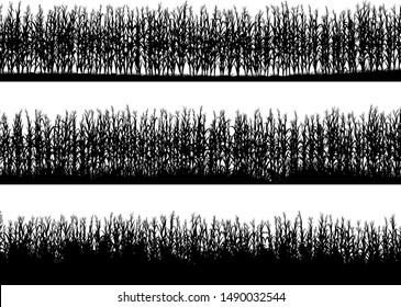 Set of horizontal banners of cornfield silhouettes with different density.