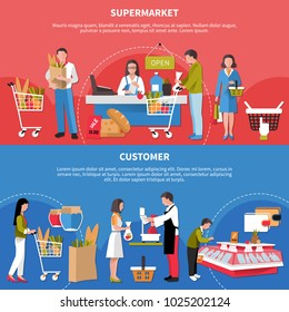 Set of horizontal banners with customers in supermarket isolated on blue and red background vector illustration