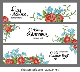Set of horizontal banners with flowers. Vector Floral Frame Set. Easy to edit.
