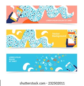 Set of horizontal banners, headers. Editable design template
