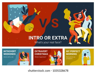 Set of horizontal banners with introvert and extravert in various situations isolated hand drawn vector illustration