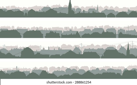 Set of horizontal banners of old historic European city in pale morning tone.