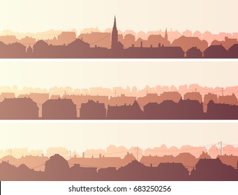Set of horizontal banners of old historic European city in morning tone.