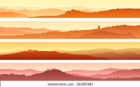 Set of horizontal banners of pastoral landscape of valley with manors at sunset.