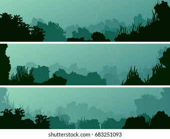 Set of horizontal banners of seabed with coral reefs and algae.