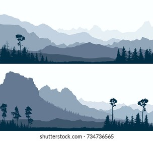 Set horizontal banners of wild coniferous forest glade with mountain ranges in blue tone.