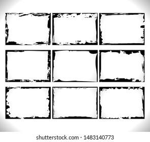 Set of horizontal Black blank Grunge Frames Collection on white. Vector Template Design Illusrations