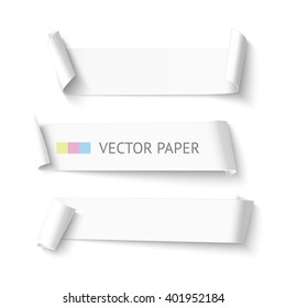 Set of horizontal blank white curved paper ribbon banner. Realistic vector template curved paper isolated on white background