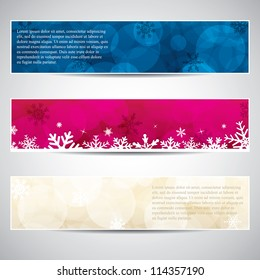 Set of horizontal Christmas banners.Vector