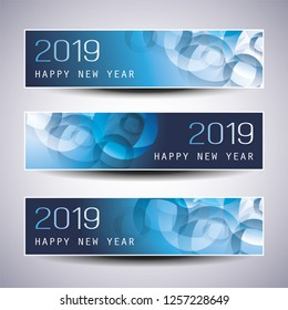 Set of Horizontal Christmas, New Year Headers or Banners Design - 2019