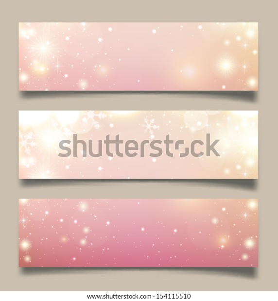 Set of horizontal Christmas, New Year banners. Vector illustration