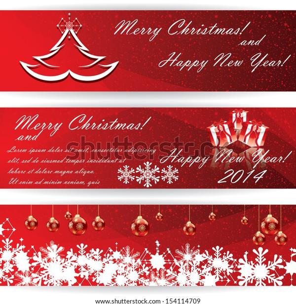 Set of horizontal Christmas red vector banners