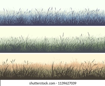 Set of horizontal color banners of grassland meadow with high grass.