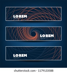 Set of Horizontal Colorful Banner or Header Design for Your Business with Spiralling Lines Pattern - Creative Vector Template