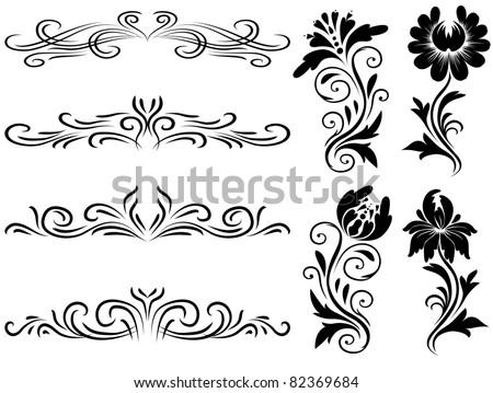 Set Horizontal Decorative Floral Elements Design Stock Vektorgrafik