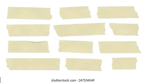 Set of horizontal and different size sticky tape