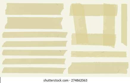 Set of horizontal and different size sticky tape,adhesive pieces and frame on light background
