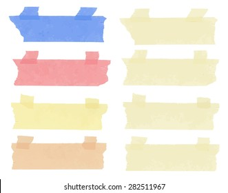 Set of horizontal and different size sticky tape,adhesive pieces, torn paper on white background. Can write text,  alphabet letters and other symbols. Vector illustration