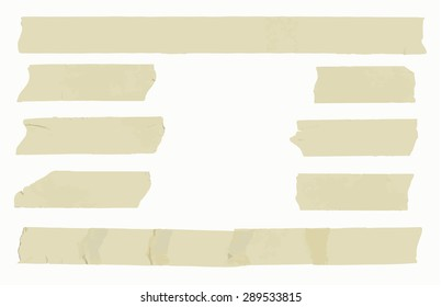 Set of horizontal and different size sticky type,adhesive pieces with space for text