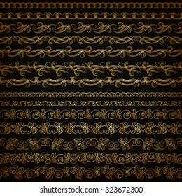 Set of horizontal golden lace pattern, decorative elements, borders for design. Seamless hand-drawn floral ornament on black background. Page, web site decoration. Vector illustration EPS 10.