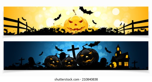 Set of   Horizontal Halloween Banners