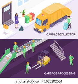 Set of horizontal isometric banners with garbage collector and refuse truck, waste recycling isolated vector illustration