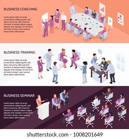 Set of horizontal isometric banners with people during business coaching, corporate training and seminar isolated vector illustration