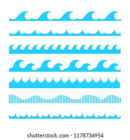 Set of horizontal lines of different blue waves.