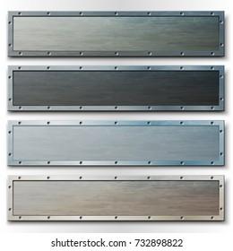 Set of horizontal metal banners or headers. Vector illustration.