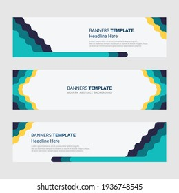 Set of horizontal modern banner design social media template background