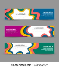 Set of horizontal paper cut layered banner templates isolated on background.