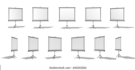 Set of Horizontal screen for a projector or an advertising banner. Different angles. Isolated on white background.