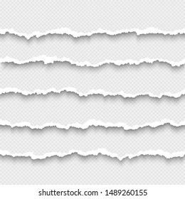 Set of horizontal seamless torn white paper with shadow. Damaged cardboard borders. Ripped stripes of paper. Vector illustration isolated on transparent background