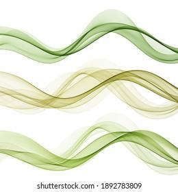 Set of horizontal transparent green smoke waves on white background, design element