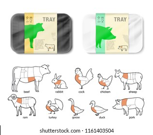 Set of horizontal tray container with animal icons. Vector illustration isolated on white background. Layered template file easy to use for your design, promo, adv. EPS10