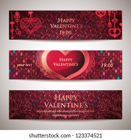 Set of horizontal Valentine's banners.