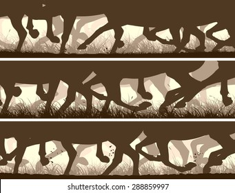 Set of horizontal vector banners prancing through grass galloping horses legs.